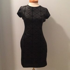 Express Black Geometric Pattern Party Dress
